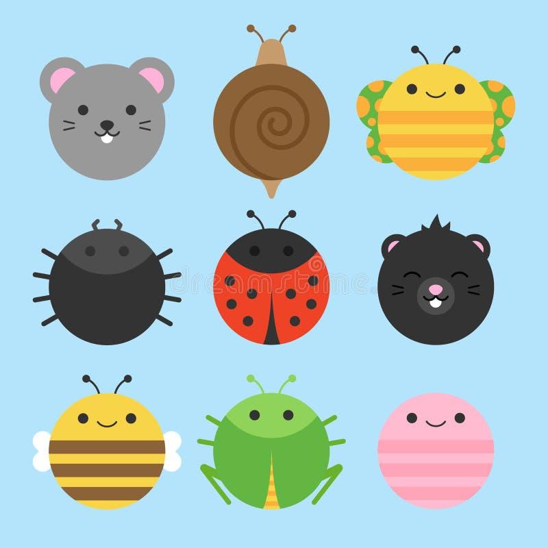 Ślicznych ogrodowych zwierząt ikony round wektorowy set ilustracji