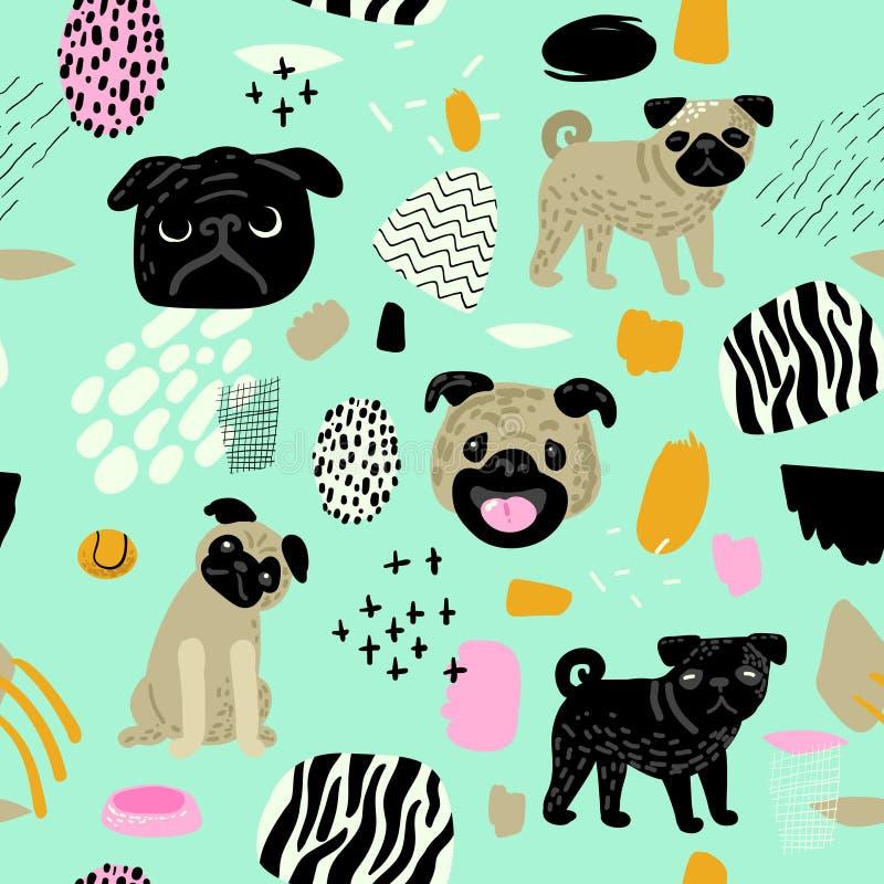 Ślicznych psów bezszwowy wzór Dziecięcy tło z mopsów szczeniakami i Abstrakcjonistycznymi elementami Dziecka Freehand Doodle dla  ilustracji