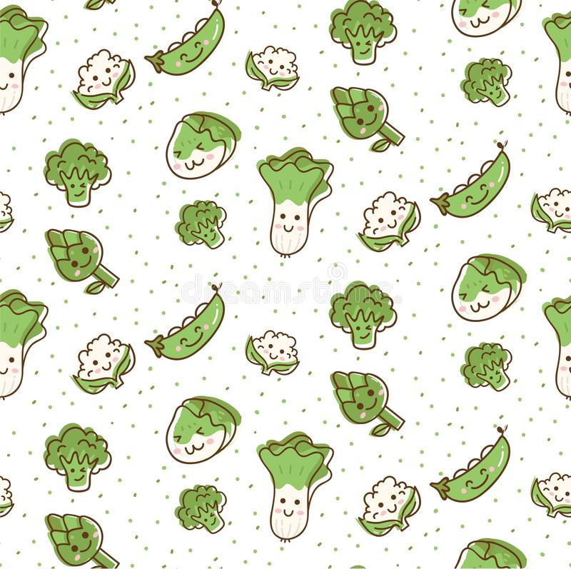 Ślicznych warzyw bezszwowy wzór w kawaii doodle stylu wektoru ilustracji ilustracja wektor