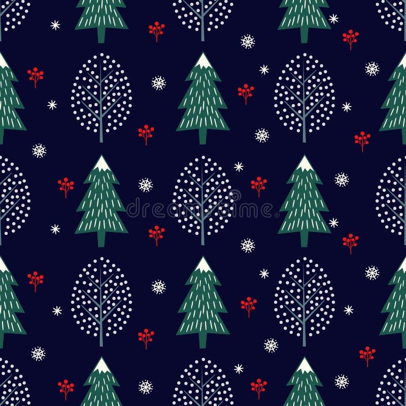 Ślicznych zim drzew bezszwowy wzór na zmroku - błękitny tło ilustracji