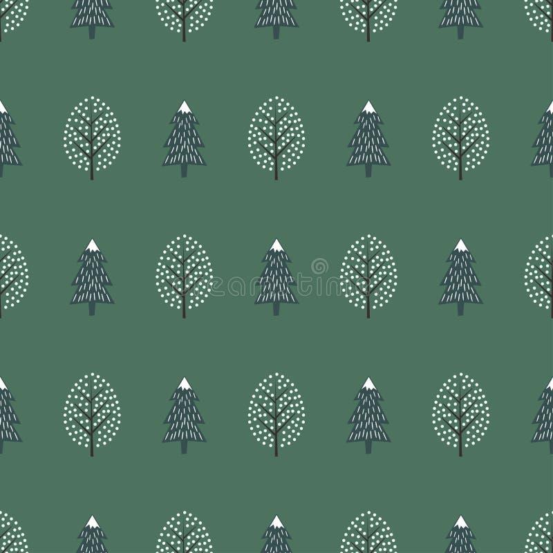 Ślicznych zim drzew bezszwowy wzór szczęśliwego nowego roku tło ilustracja wektor
