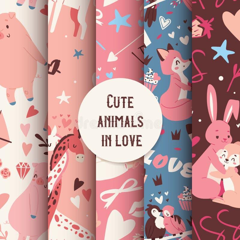 Ślicznych zwierząt bezszwowy wzór z całowanie charakterów lisy, królika, żyrafy i ptaków wektoru ilustracją, royalty ilustracja