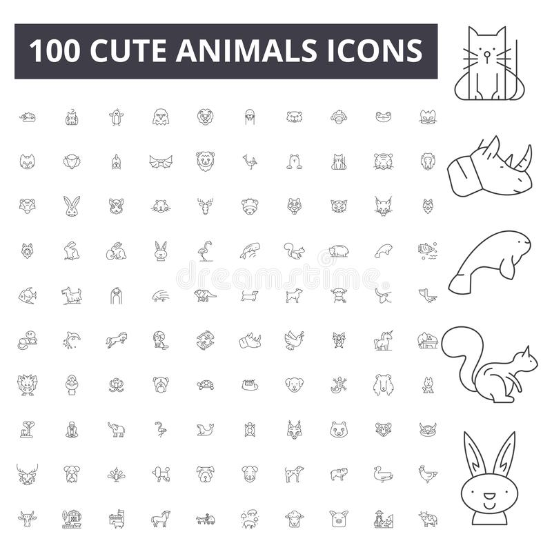 Ślicznych zwierząt kreskowe ikony, znaki, wektoru set, kontur ilustracji pojęcie ilustracja wektor