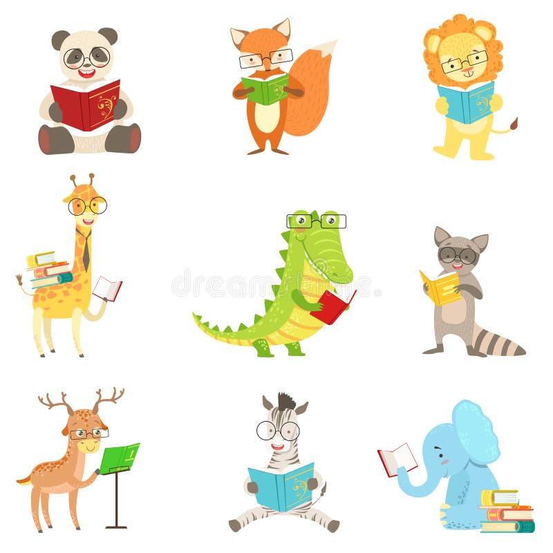 Ślicznych Zwierzęcych charakterów Czytelnicze książki Ustawiać royalty ilustracja