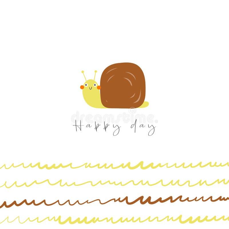 Ślimaczek dla dzieciaków Szczęśliwa dzień karta, pocztówka, plakat z śmiesznym doodle zwierzęciem, abstrakcjonistyczni elementy ilustracji