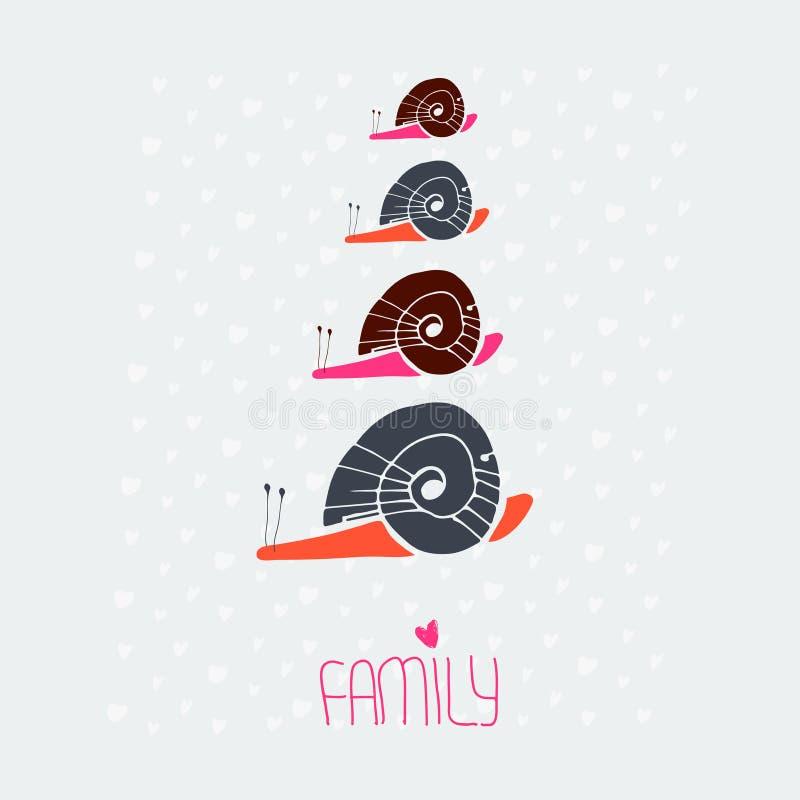 Ślimaczek miłości rodzinna karta ilustracja wektor