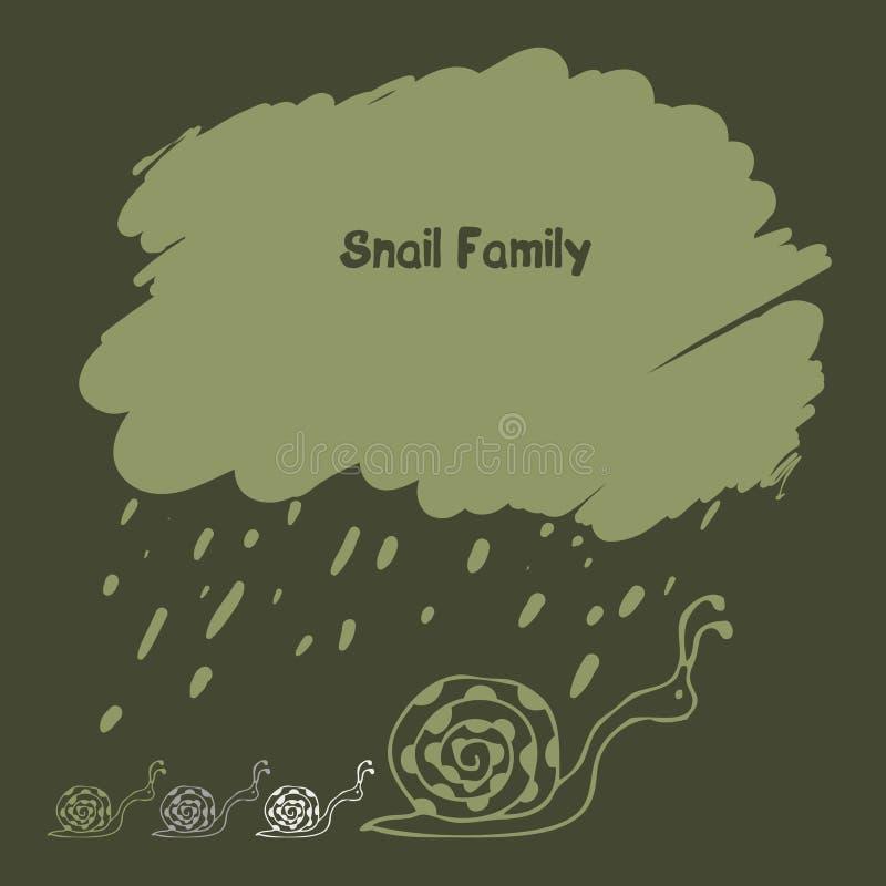 Ślimaczek rodzina pod dżdżystą chmurą royalty ilustracja