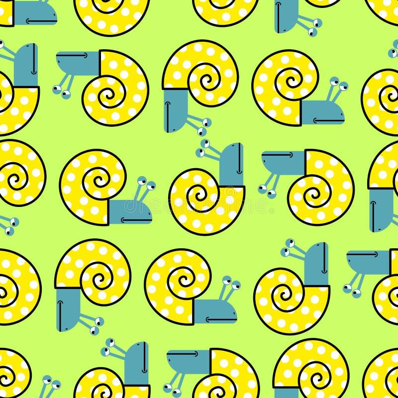 Ślimaczka bezszwowy wzór Wektorowy tło z milczek skorupami ilustracji