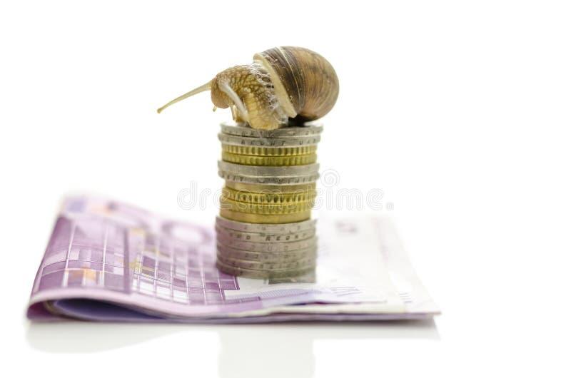 Ślimaczka obsiadanie na górze sterty euro monety zdjęcie stock