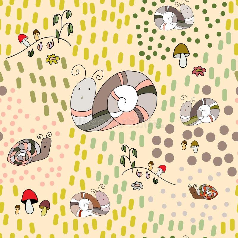 Ślimaczki, pieczarki, kwiaty, trawa wektorowy bezszwowy wzór ilustracja wektor