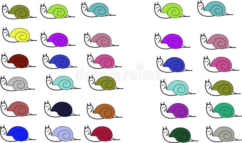 Ślimaczki różni colours ilustracji