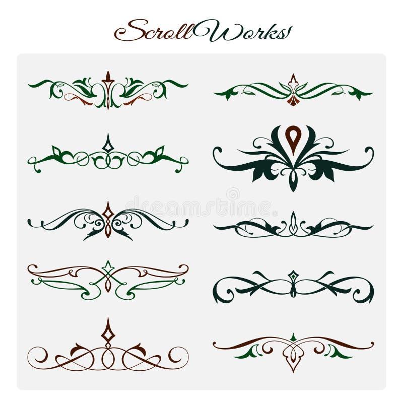 Ślimacznic prac projekt, Ornamentacyjni dekoracyjni elementy royalty ilustracja