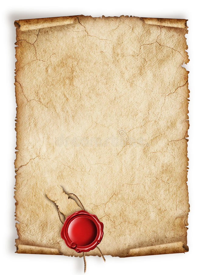 Ślimacznica papieru stary prześcieradło z czerwoną wosk foką ilustracja wektor