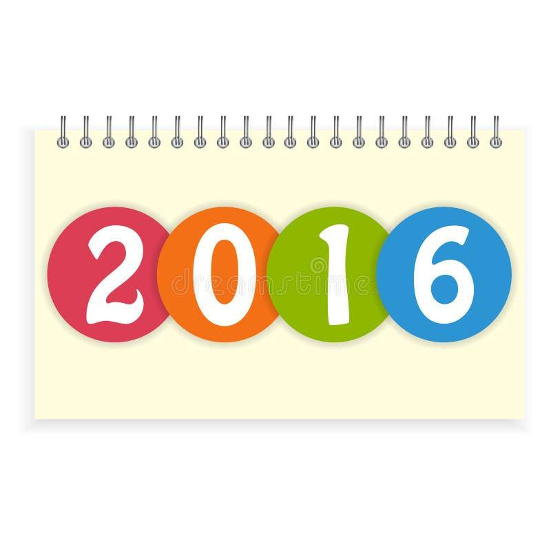 Ślimakowata kalendarza 2016 pokrywa ilustracja wektor