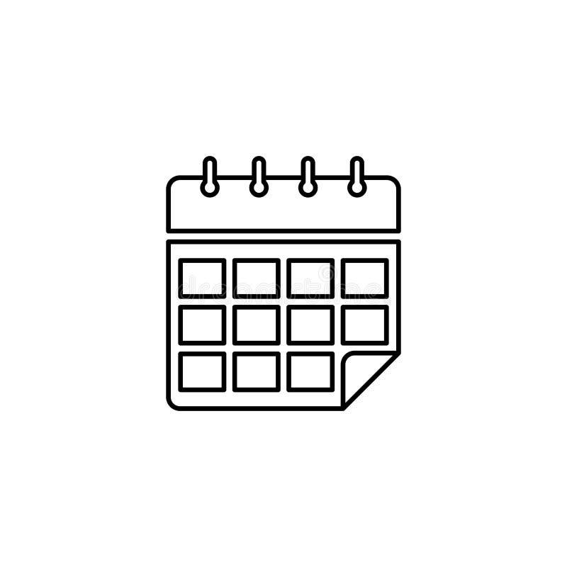Ślimakowata kalendarzowa kontur ikona ilustracji