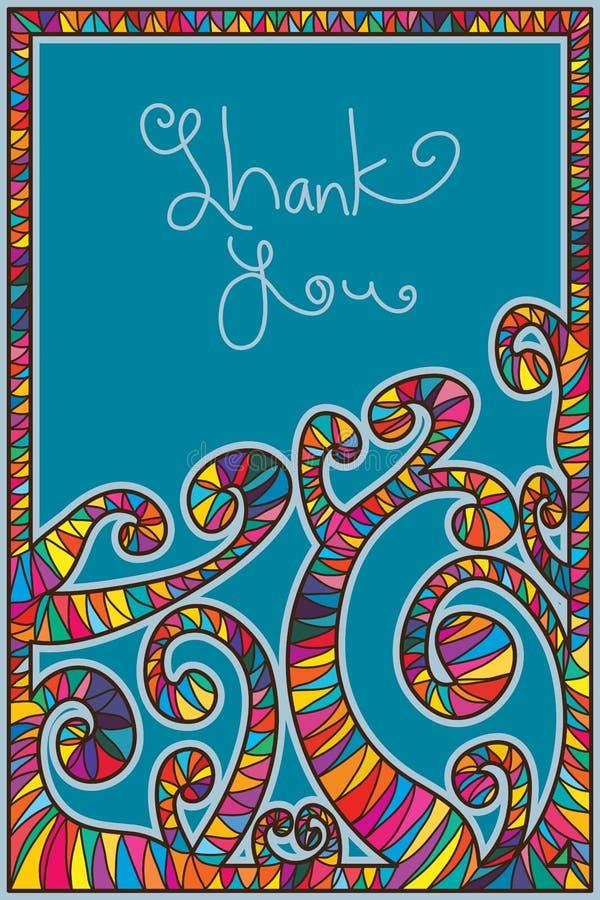 Ślimakowata kij rama Dziękuje Ciebie ilustracja wektor