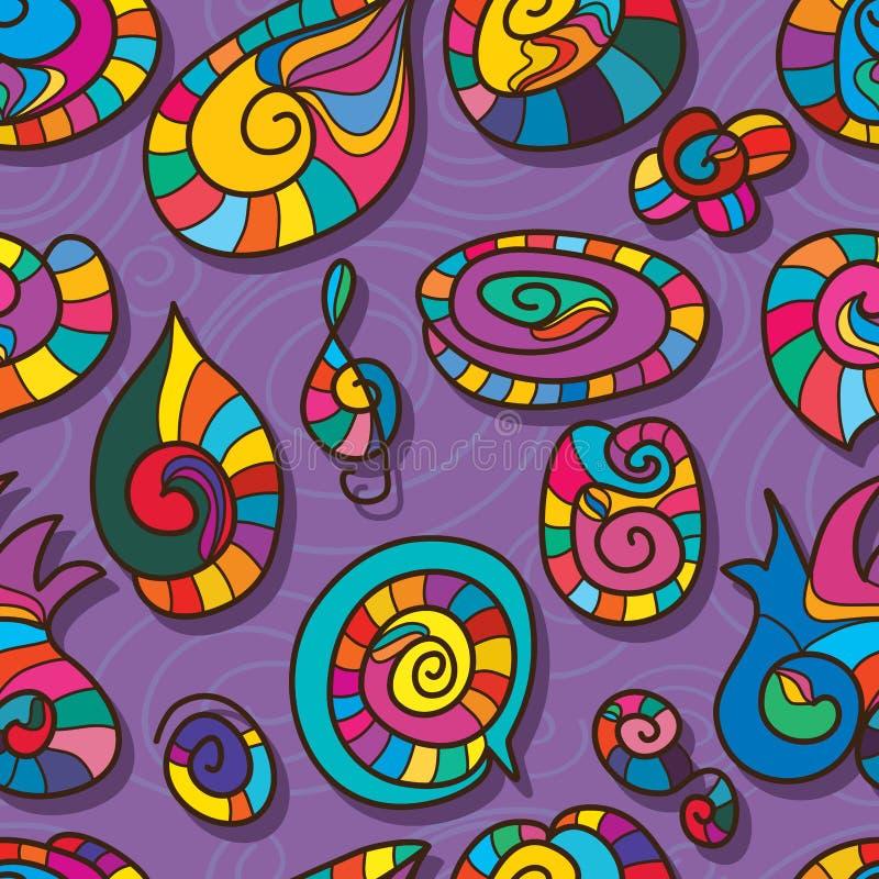 Ślimakowatego kształt kreskówki koloru bezszwowy wzór royalty ilustracja