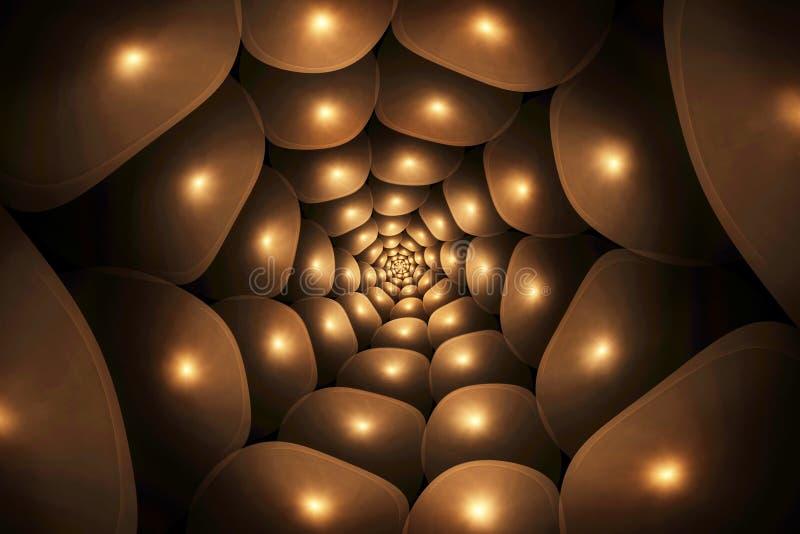 Ślimakowaty brown abstrakcjonistyczny fractal ilustracja wektor
