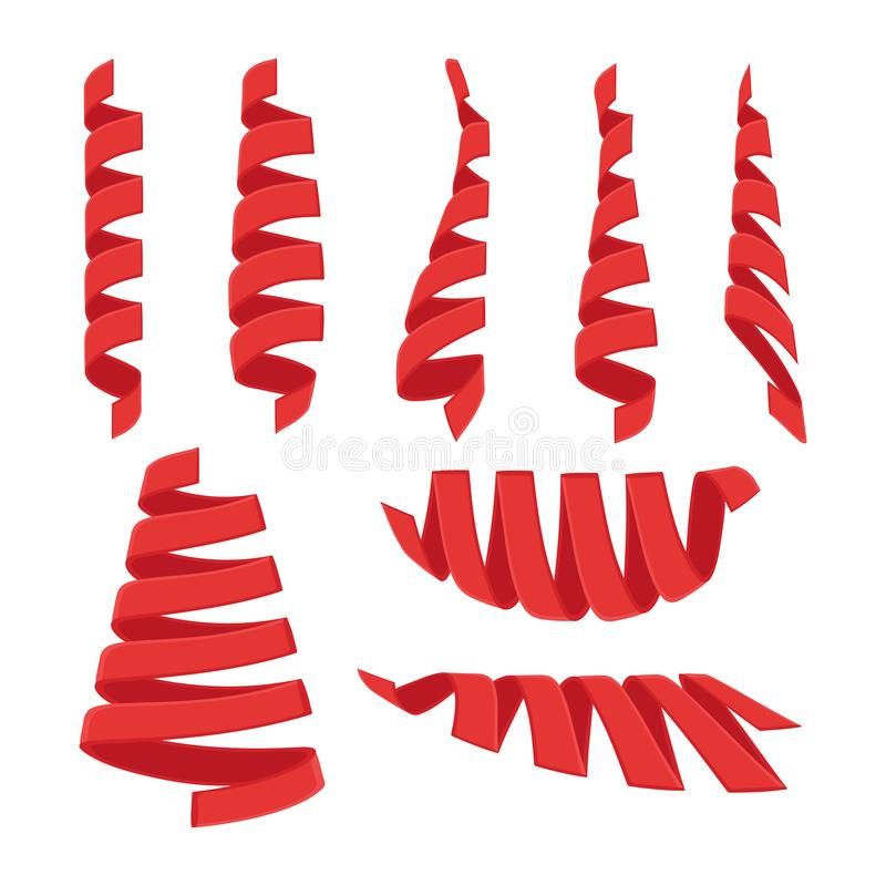 Ślimakowaty czerwony faborek ilustracji