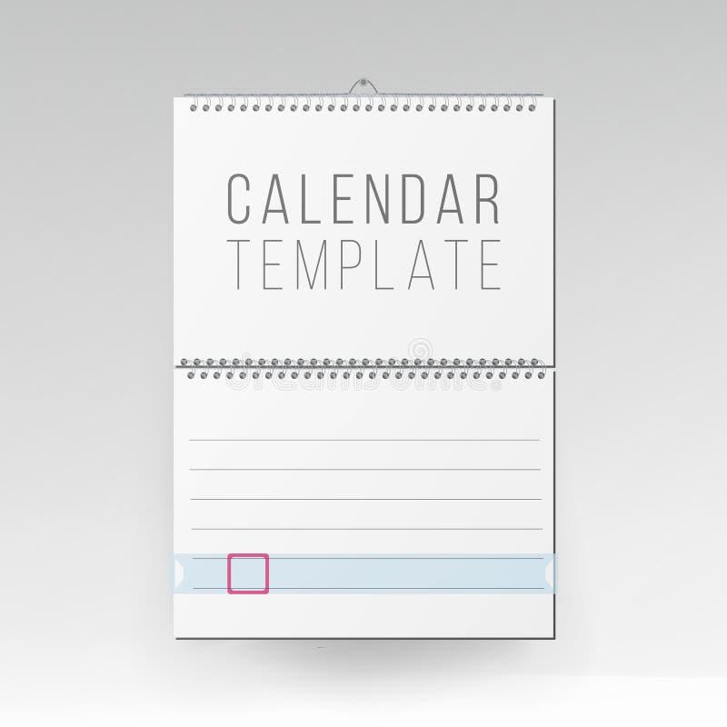 Ślimakowaty Kalendarzowy wektor Pusty biuro kalendarza egzamin próbny Up Realistyczni prześcieradła papier Opróżnia Próbnego Up Ś ilustracja wektor