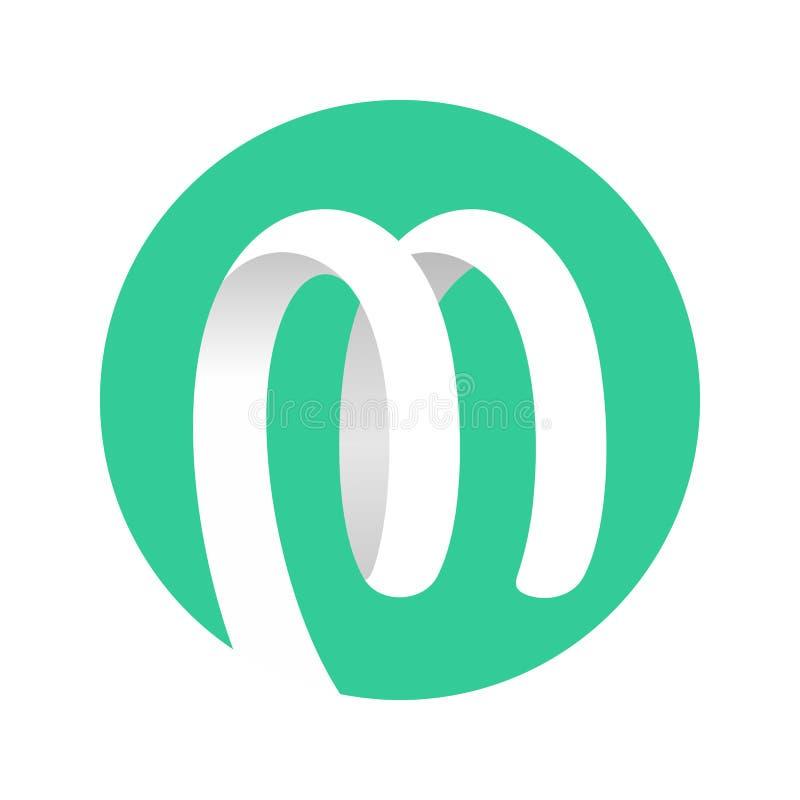 Ślimakowaty Tasiemkowy logo zieleni okrąg royalty ilustracja