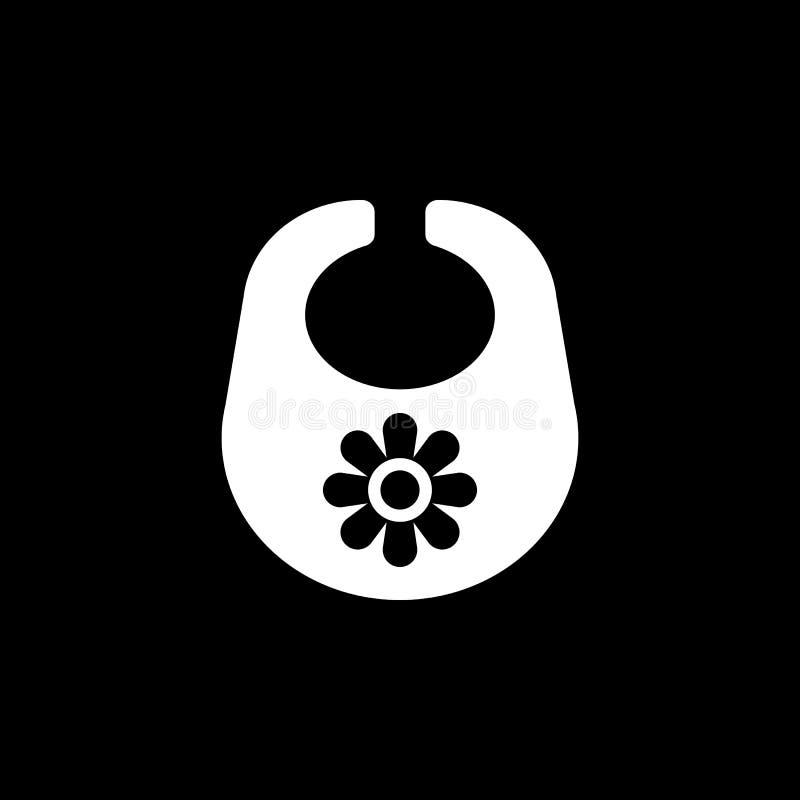 Śliniaczek ikona Projekt Breastplate i fartuch, śliniaczka symbol Sieć grafika ai app logo zaciemnia mieszkanie niezrównoważenie  royalty ilustracja