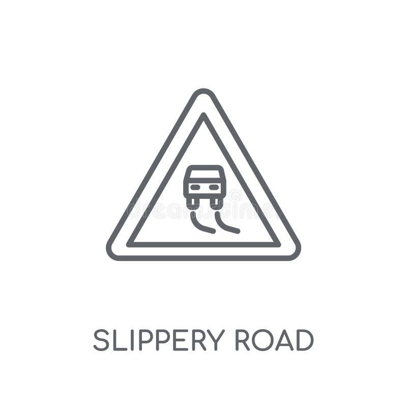 Śliska drogowa liniowa ikona Nowożytnego konturu logo Śliski drogowy przeciw ilustracji