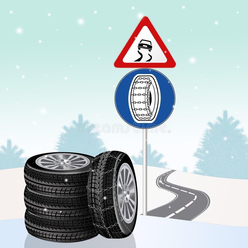 Śliski drogowego znaka i łańcuchu zobowiązanie ilustracji