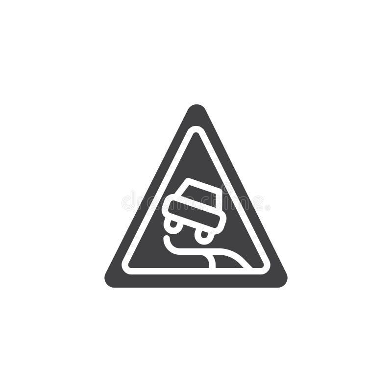 Śliski drogowy ikona wektor ilustracji