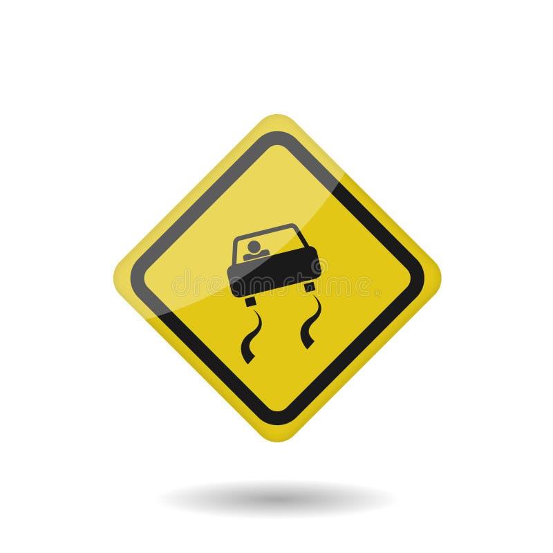 Śliski drogowy wektoru znak ilustracja wektor