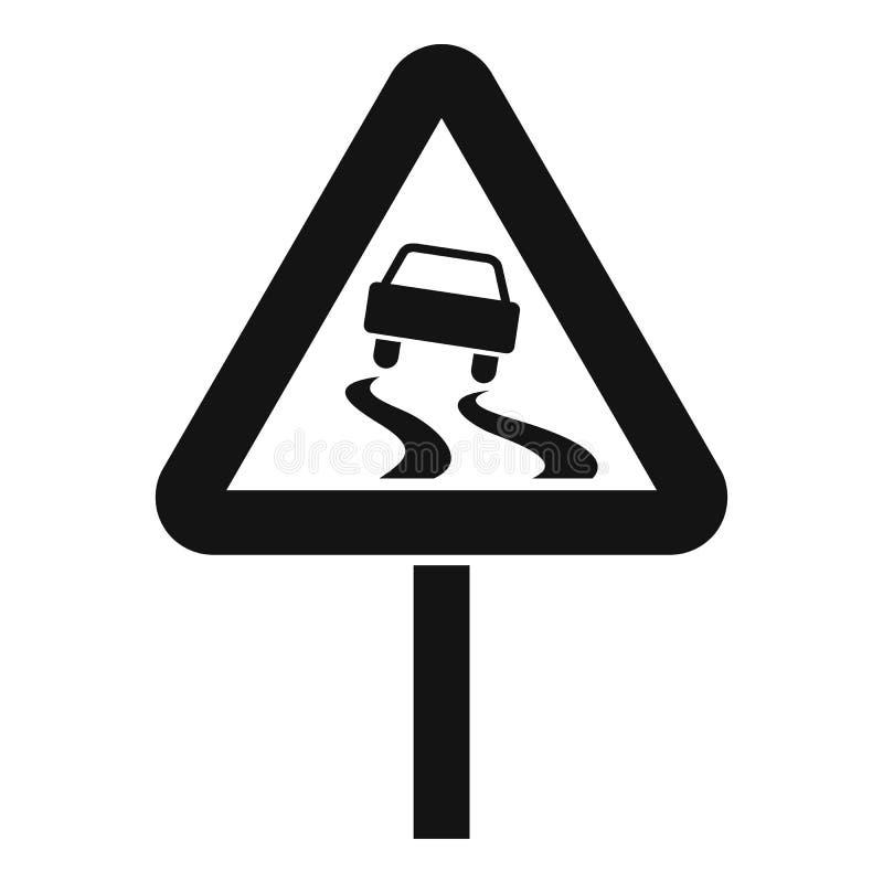 Śliski gdy mokra drogowego znaka ikona, prosty styl ilustracja wektor