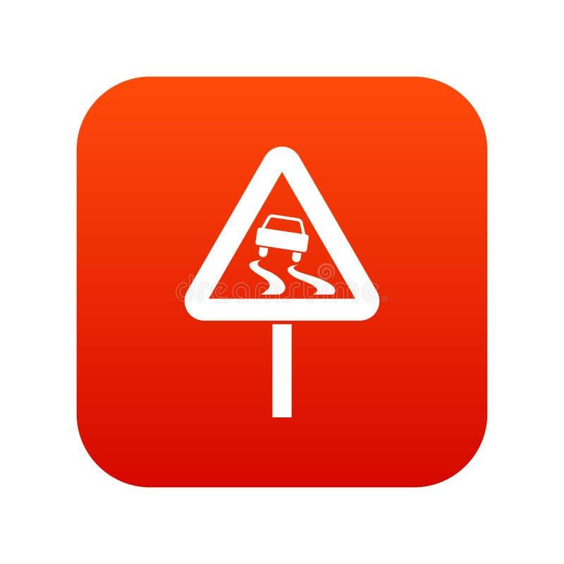 Śliski gdy mokrej drogowego znaka ikony cyfrowa czerwień royalty ilustracja