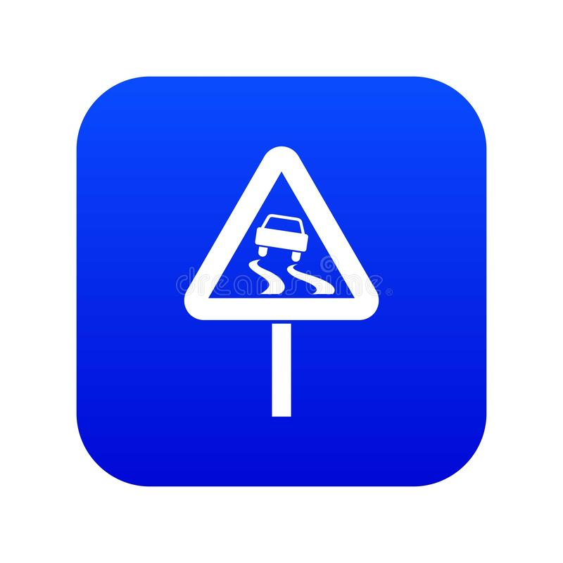 Śliski gdy mokrej drogowego znaka ikony cyfrowy błękit ilustracja wektor