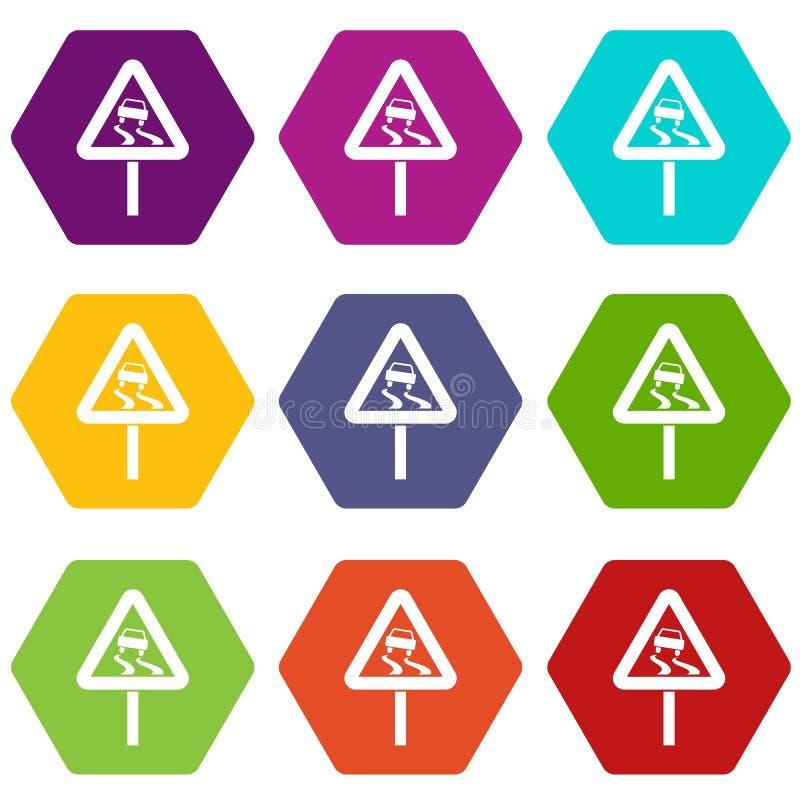 Śliski gdy mokrej drogowego znaka ikony koloru ustalony sześciobok ilustracji