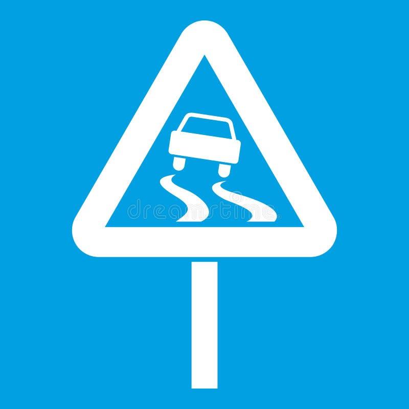 Śliski gdy mokry drogowego znaka ikony biel royalty ilustracja