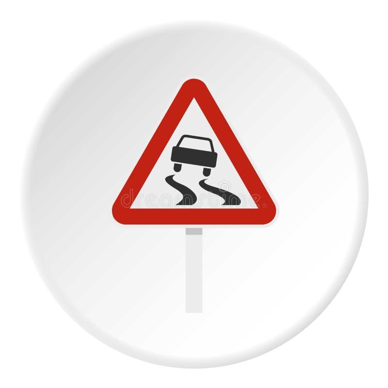 Śliski gdy mokry drogowego znaka ikony okrąg ilustracji