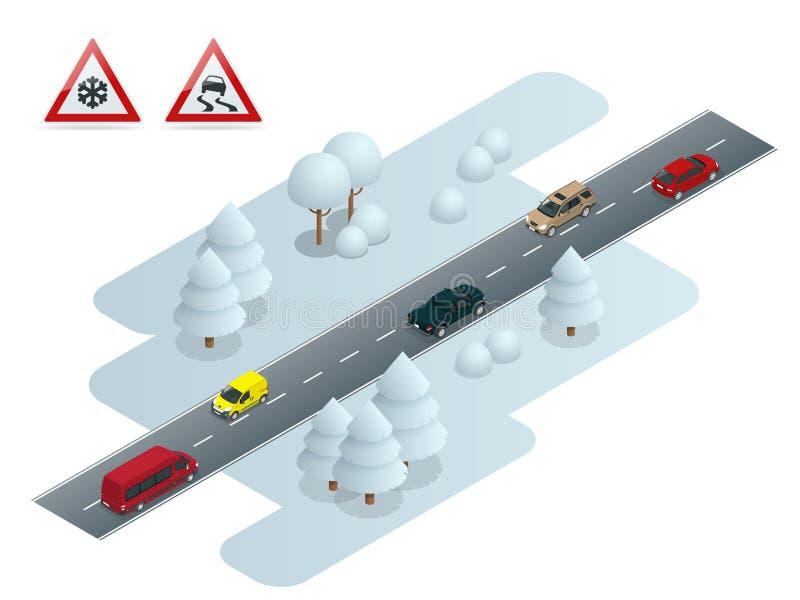 Śliski, lodowy, zimo, śnieżny drogo i samochodzie, Ostrożność śnieg Zimy bezpieczeństwo na drogach i jeżdżenie spotykający staci  ilustracja wektor
