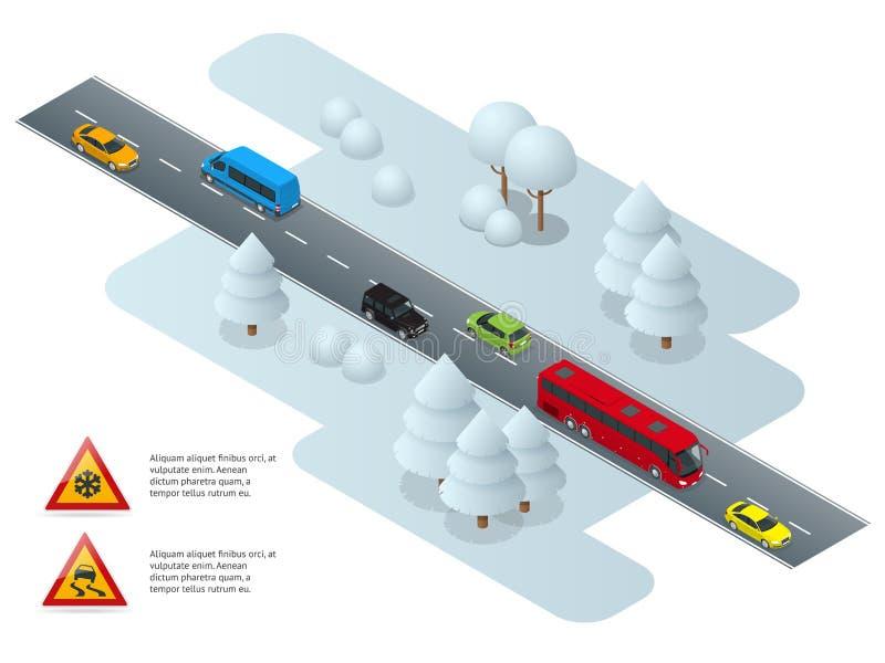 Śliski, lodowy, zimo, śnieżny drogo i samochodzie, Ostrożność śnieg Zimy bezpieczeństwo na drogach i jeżdżenie spotykający staci  royalty ilustracja