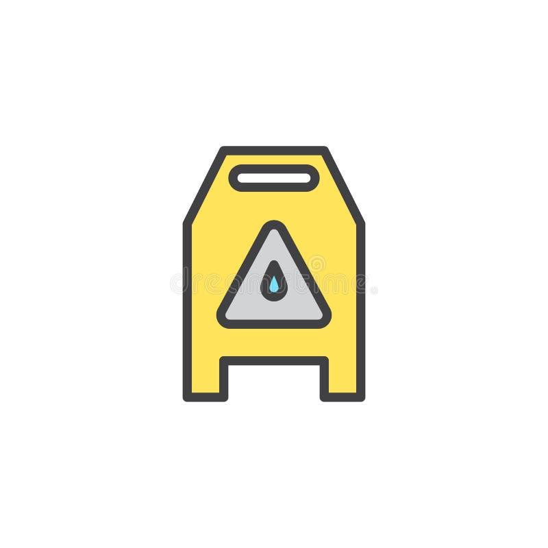 Śliski mokry znak wypełniająca podłoga konturu ikona ilustracji