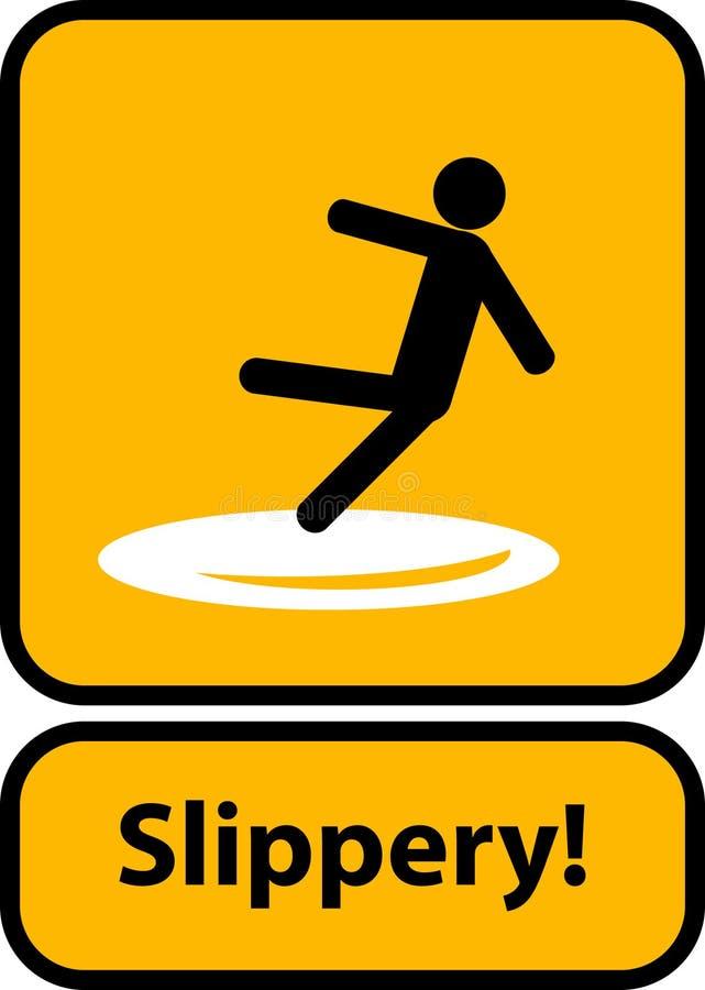 Śliski ostrzegawczy koloru żółtego znak royalty ilustracja