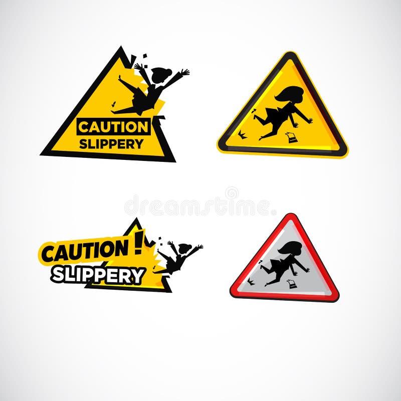 Śliski podłoga powierzchni znak ostrzegawczy - ilustracja wektor