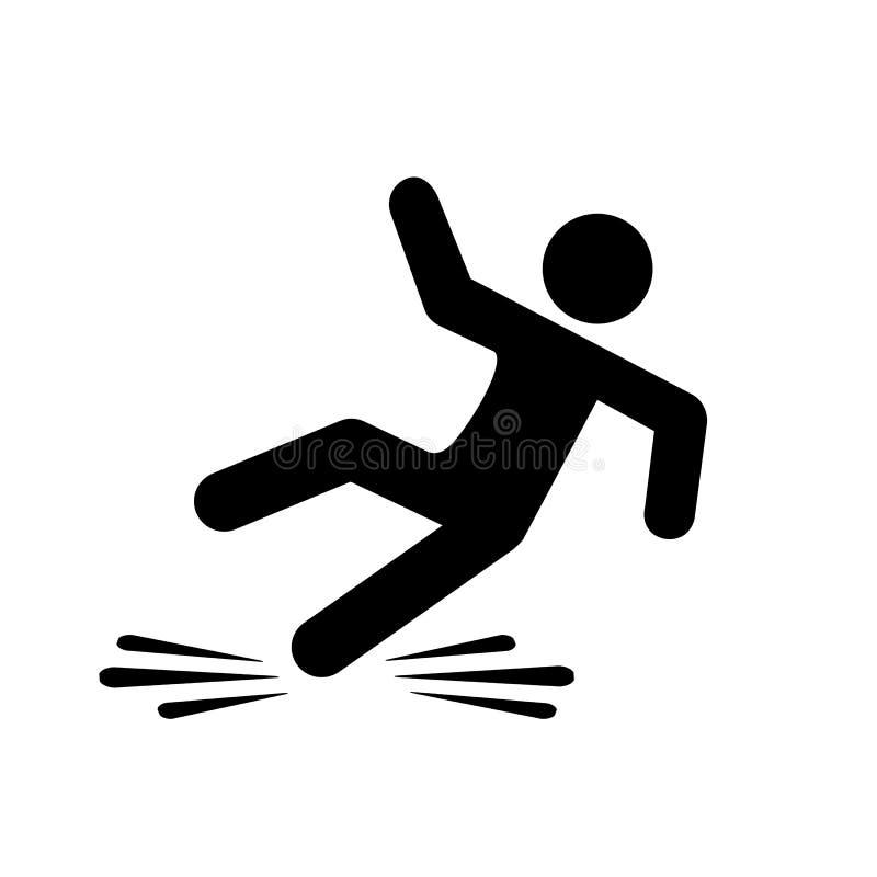 Śliski podłogowy niebezpieczeństwo wektoru piktogram ilustracja wektor