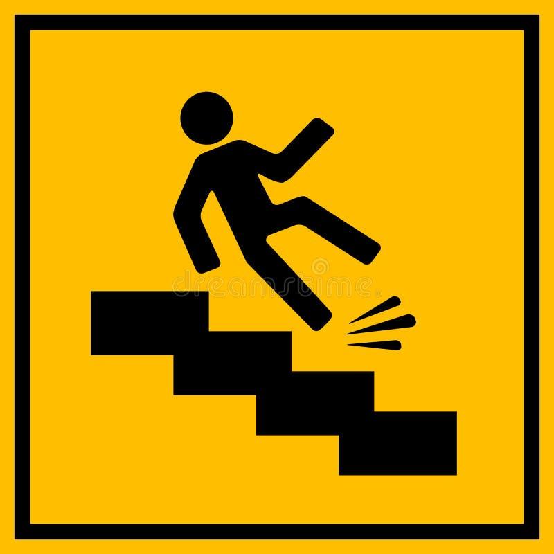 Śliski schodka znak ostrzegawczy ilustracja wektor