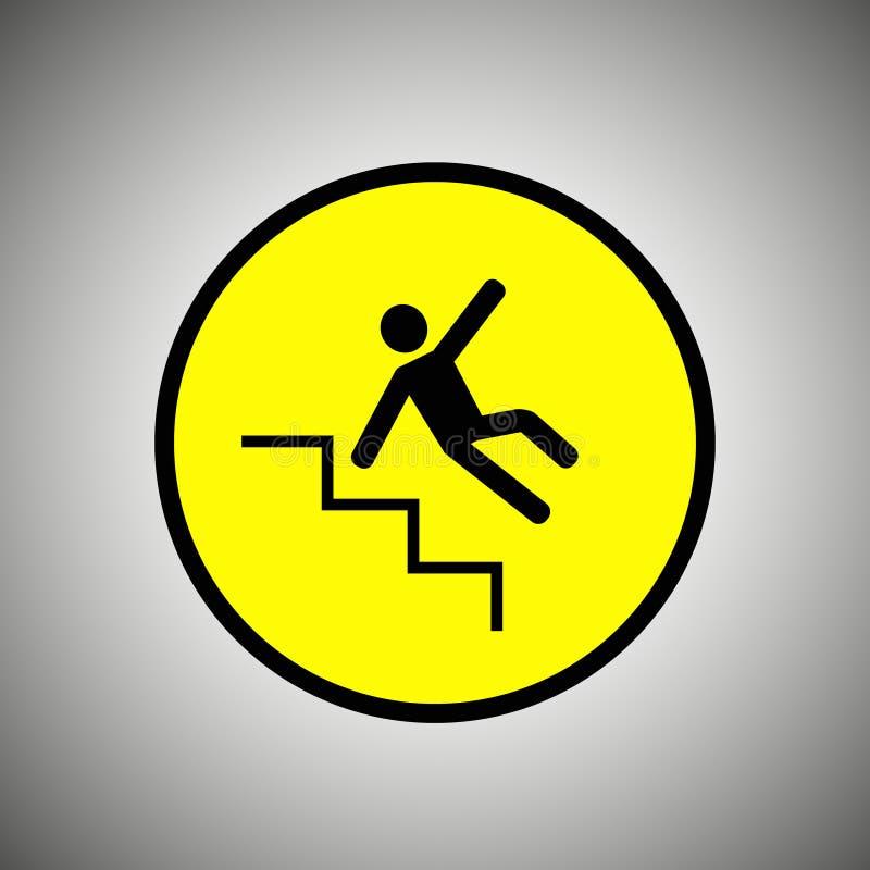 Śliski schodka znak Spada mężczyzna na schodkach wektorowych ilustracja wektor