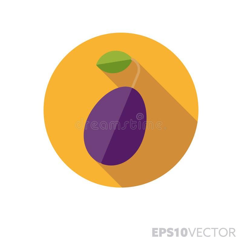 Śliwka lub przycina płaskiego projekta cienia koloru wektoru długą ikonę ilustracja wektor