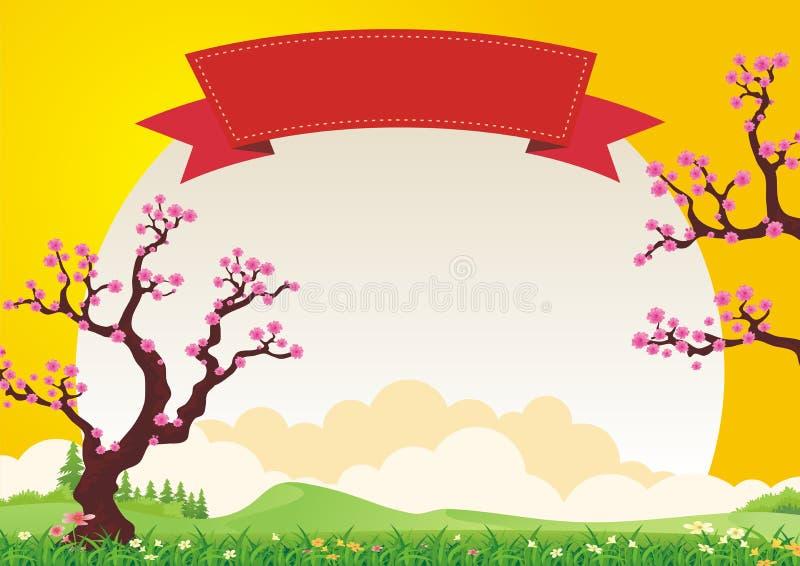 Śliwkowy okwitnięcia drzewo Z pięknym krajobrazem ilustracji