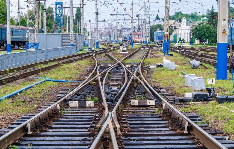 ślizganie dwoista kolejowa zmiana fotografia royalty free
