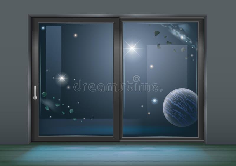 Ślizgowego okno przestrzeń hotel ilustracji
