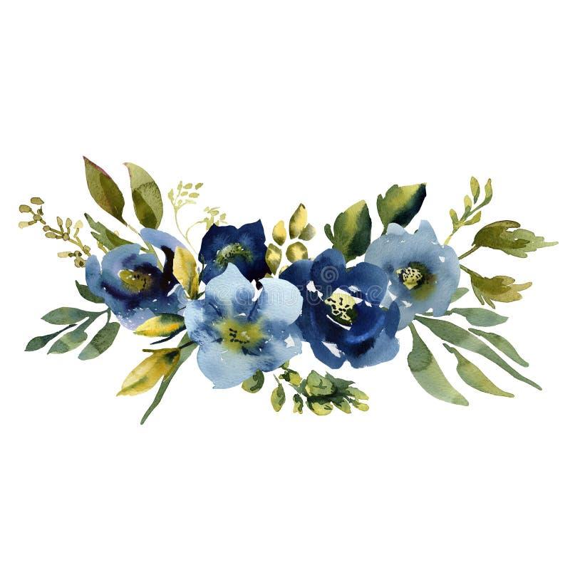 ślub bukieta ślub zielony błękitny i purpury kwiatów ornament zdjęcia royalty free