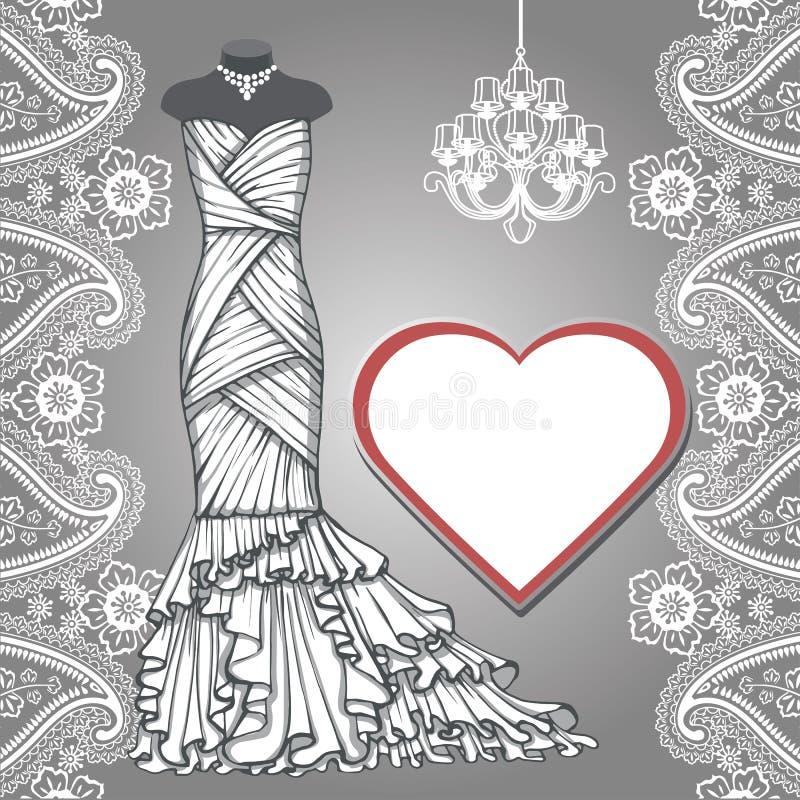 Ślubna bridal długa suknia, Paisley granica, etykietka ilustracja wektor